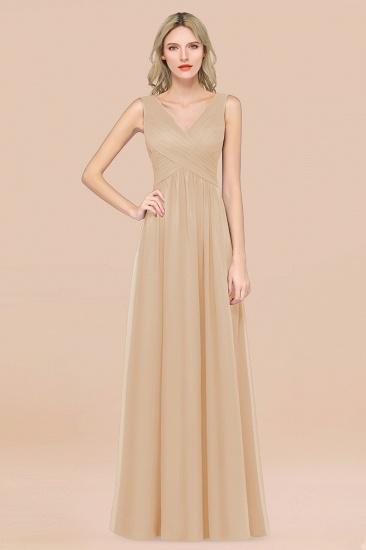BMbridal Glamorous Chiffon V-Neck Sleeveless Burgundy Bridesmaid Dress with Draped Back_14