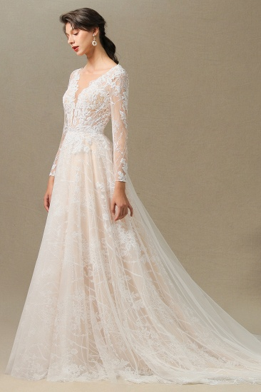 BMbridal Long Sleeves Lace Wedding Dress Online_11