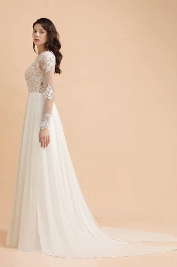Elegant A-Line Chiffon Lace Wedding Dress Long Sleeves Jewel Ruffles Bridal Gowns On Sale_5