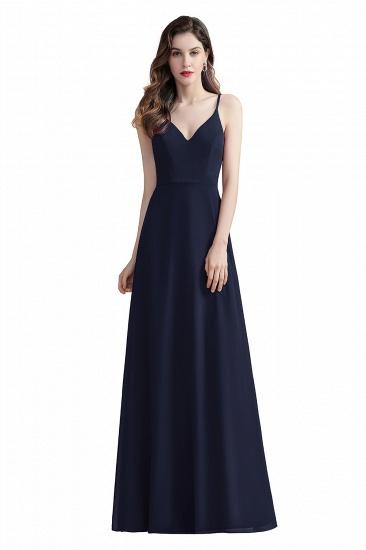 BMbridal Elegant V-Neck Burgundy Chiffon Bridesmaid Dress Lace Sequins Spaghetti Straps Evening Dress_3