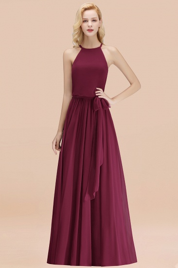 BMbridal Affordable Halter Bow Long Bridesmaid Dress Modest Burgundy Chiffon Wedding Party Dress_44