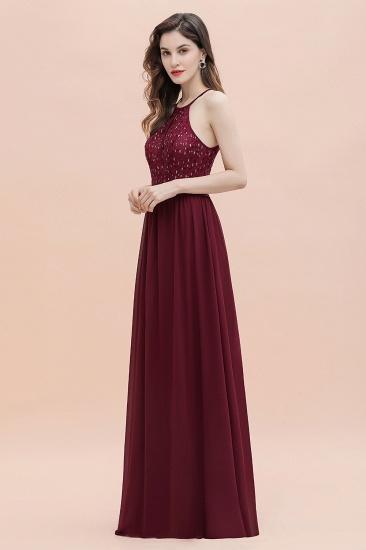 BMbridal Glamorous Halter A-line Bridesmaid Dress Chiffon Sequins Elegant Party Maxi Dress_14