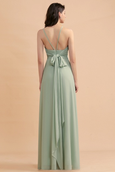 BMbridal Stylish Jewel Sleeveless Dusty Sage Chiffon Bridesmaid Dress with Ruffles_3