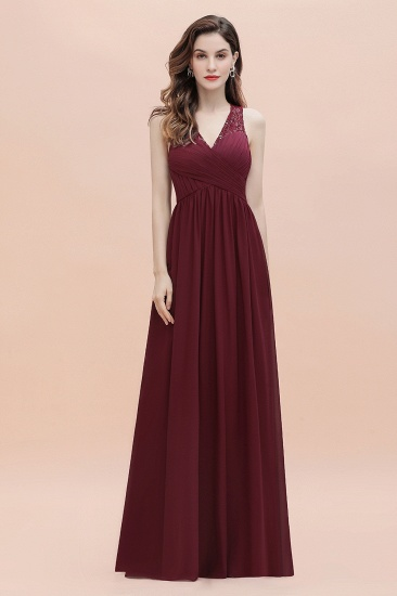 BMbridal Elegant V-Neck Lace Ruffles Bridesmaid Dress Sequins Burgundy Chiffon Evening Dress_7