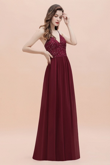 Fabulous A-line Burgundy Chiffon Bridesmaid Dress V-Neck Spaghetti Straps Sequins Evening Dress