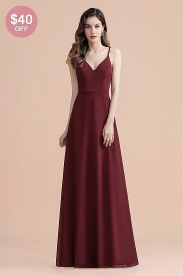 BMbridal Elegant V-Neck Burgundy Chiffon Bridesmaid Dress Lace Sequins Spaghetti Straps Evening Dress