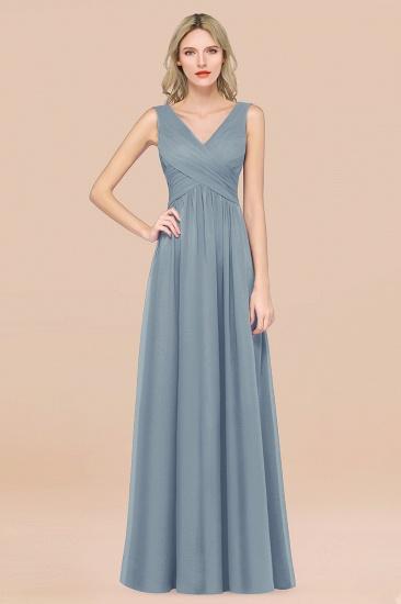 BMbridal Glamorous Chiffon V-Neck Sleeveless Burgundy Bridesmaid Dress with Draped Back_40