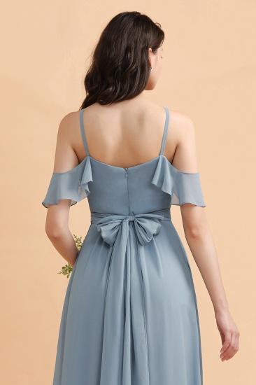 BMbridal Stylish Cold-Shoulder Ruffles Chiffon Bowknot Bridesmaid Dress with Pockets On Sale_9