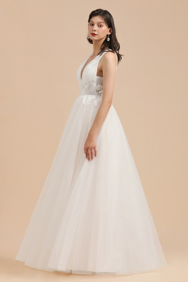 BMbridal Simple Ivory V-Neck Tulle Lace Wedding Dress Appliques Garden Bridal Gowns_5