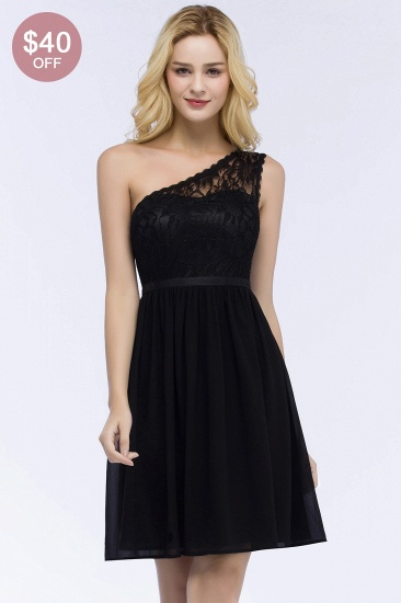 BMbridal Affordable A-line Chiffon One-shoulder Lace Top Short Bridesmaid Dresses In Stock_2
