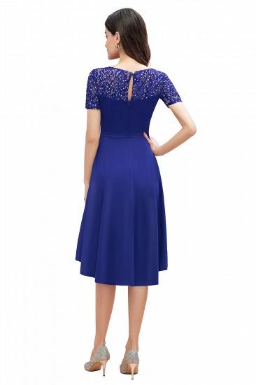 BMbridal Lovely Jewel Satin Sequins Bridesmaid Dress Short Sleeve Burgundy Cocktail Dress_10