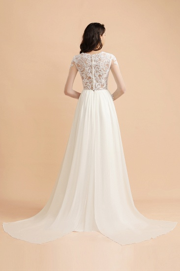 Elegant A-Line Chiffon Lace Wedding Dress Long Sleeves Jewel Ruffles Bridal Gowns On Sale_2