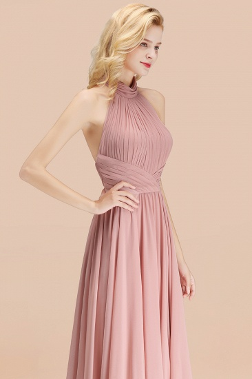 BMbridal Gorgeous High-Neck Halter Backless Bridesmaid Dress Dusty Rose Chiffon Maid of Honor Dress_55