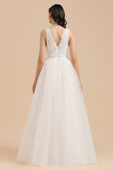 BMbridal Simple Ivory V-Neck Tulle Lace Wedding Dress Appliques Garden Bridal Gowns_2