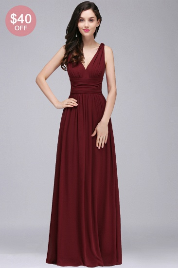 BMbridal Affordable Chiffon V-Neck Burgundy Bridesmaid Dress with Ruffle In Stock