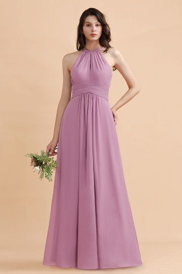 Elegant Jewel Wisteria Chiffon Ruffles Bridesmaid Dress with Pockets On sale