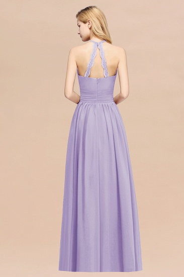 BMbridal Elegant High-Neck Halter Long Affordable Bridesmaid Dresses with Ruffles_21