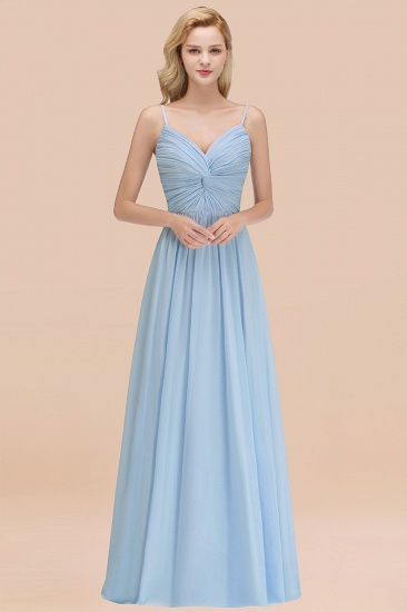 BMbridal Chic V-Neck Pleated Backless Bridesmaid Dresses with Spaghetti Straps_58