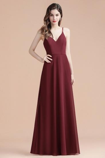 BMbridal Elegant V-Neck Burgundy Chiffon Bridesmaid Dress Lace Sequins Spaghetti Straps Evening Dress_9