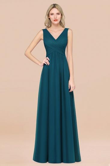 BMbridal Glamorous Chiffon V-Neck Sleeveless Burgundy Bridesmaid Dress with Draped Back_27