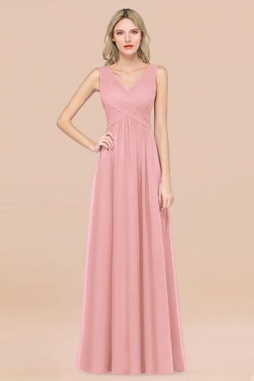 BMbridal Glamorous Chiffon V-Neck Sleeveless Burgundy Bridesmaid Dress with Draped Back_4