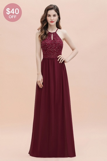 BMbridal Glamorous Halter A-line Bridesmaid Dress Chiffon Sequins Elegant Party Maxi Dress