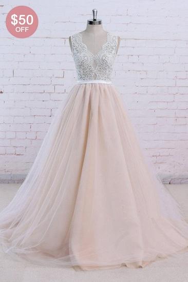 BMbridal AffordableBlush Pink Tulle Wedding Dress Ivory Lace V-Neck Vintage Bridal Gowns On Sale