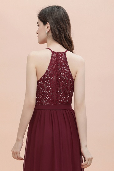 BMbridal A-Line Lace Burgundy Bridesmaid Dress Lace Sequins Sleeveless Evening Dress_10