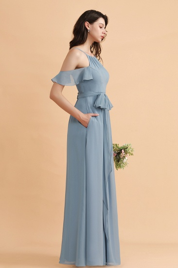 BMbridal Stylish Cold-Shoulder Ruffles Chiffon Bowknot Bridesmaid Dress with Pockets On Sale_5
