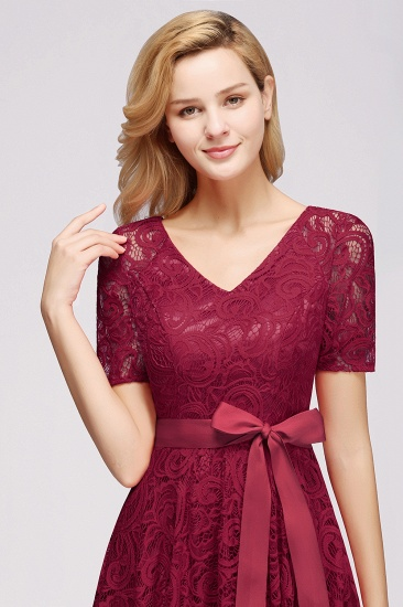 BMbridal Burgundy Lace Short Sleeve Homecoming Dress Mini Party Dress On Sale_11