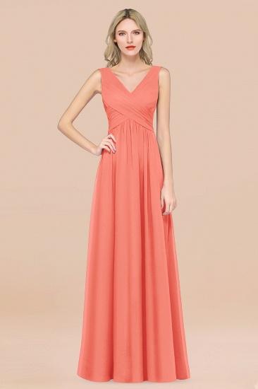 BMbridal Glamorous Chiffon V-Neck Sleeveless Burgundy Bridesmaid Dress with Draped Back_45
