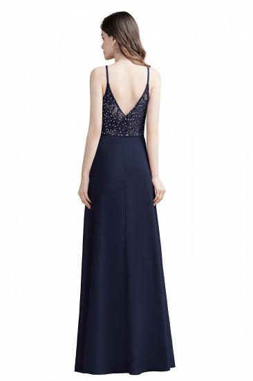 BMbridal Elegant V-Neck Burgundy Chiffon Bridesmaid Dress Lace Sequins Spaghetti Straps Evening Dress_11