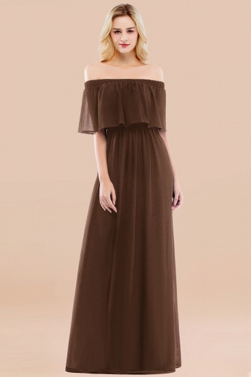 BMbridal Vintage Off-the-Shoulder Long Burgundy Bridesmaid Dress with Ruffle_12