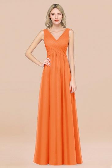 BMbridal Glamorous Chiffon V-Neck Sleeveless Burgundy Bridesmaid Dress with Draped Back_15