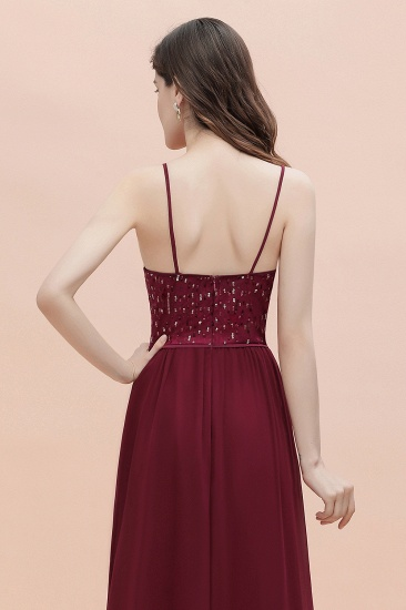 BMbridal Fabulous A-line Burgundy Chiffon Bridesmaid Dress V-Neck Spaghetti Straps Sequins Evening Dress_10
