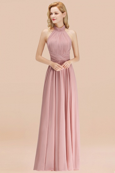 BMbridal Gorgeous High-Neck Halter Backless Bridesmaid Dress Dusty Rose Chiffon Maid of Honor Dress_54