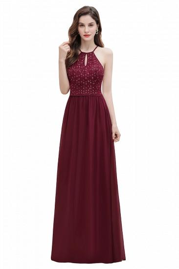 BMbridal Glamorous Halter A-line Bridesmaid Dress Chiffon Sequins Elegant Party Maxi Dress_1