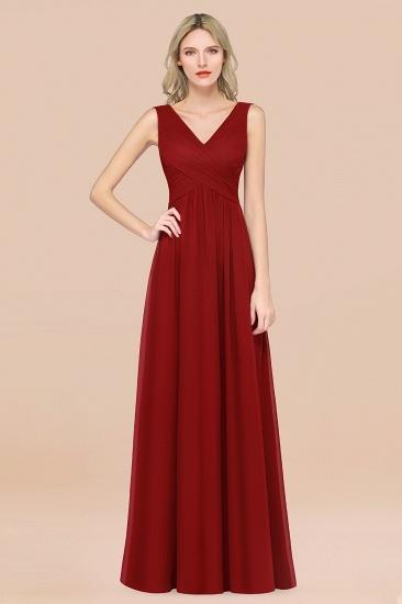 BMbridal Glamorous Chiffon V-Neck Sleeveless Burgundy Bridesmaid Dress with Draped Back_48