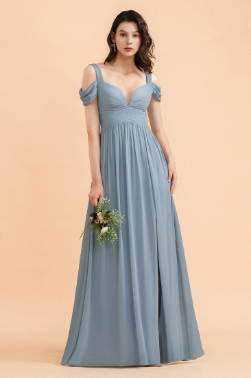BMbridal Sexy Cold-Shoulder Dusty Blue Chiffon Bridesmaid Dress with Slit On Sale_9