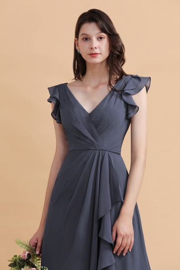 BMbridal Affordable V-Neck Chiffon Ruffles Bridesmaid Dress with Pockets On Sale_9