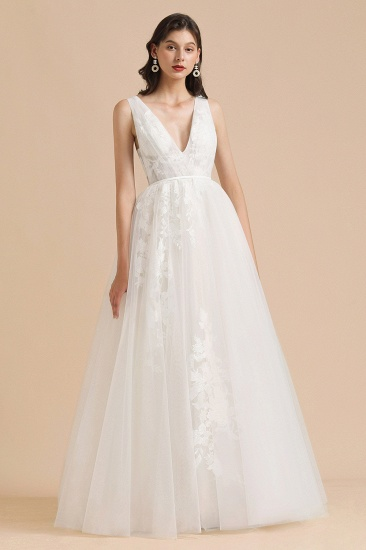 BMbridal Simple Ivory V-Neck Tulle Lace Wedding Dress Appliques Garden Bridal Gowns_6