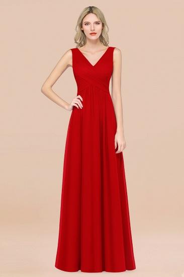 BMbridal Glamorous Chiffon V-Neck Sleeveless Burgundy Bridesmaid Dress with Draped Back_8