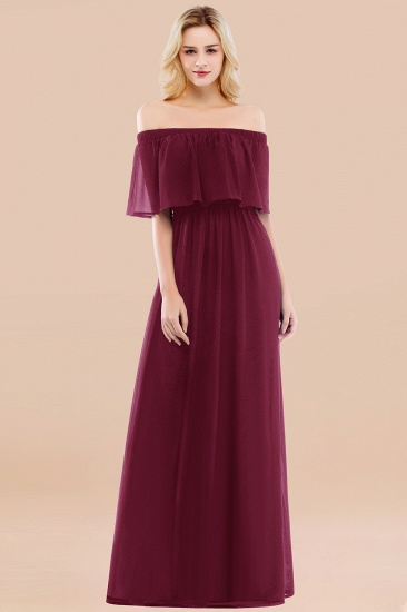BMbridal Vintage Off-the-Shoulder Long Burgundy Bridesmaid Dress with Ruffle_44