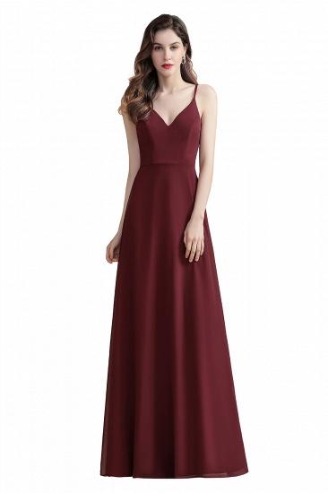 BMbridal Elegant V-Neck Burgundy Chiffon Bridesmaid Dress Lace Sequins Spaghetti Straps Evening Dress_1