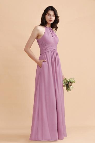 BMbridal Elegant Jewel Wisteria Chiffon Ruffles Bridesmaid Dress with Pockets On sale_7