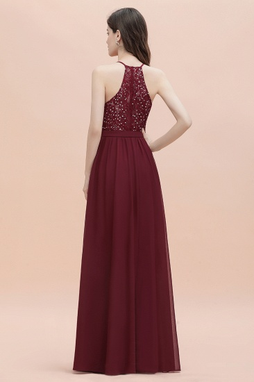 BMbridal A-Line Lace Burgundy Bridesmaid Dress Lace Sequins Sleeveless Evening Dress_5