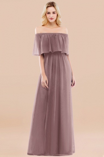 BMbridal Vintage Off-the-Shoulder Long Burgundy Bridesmaid Dress with Ruffle_37