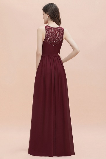 BMbridal Elegant V-Neck Lace Ruffles Bridesmaid Dress Sequins Burgundy Chiffon Evening Dress_5