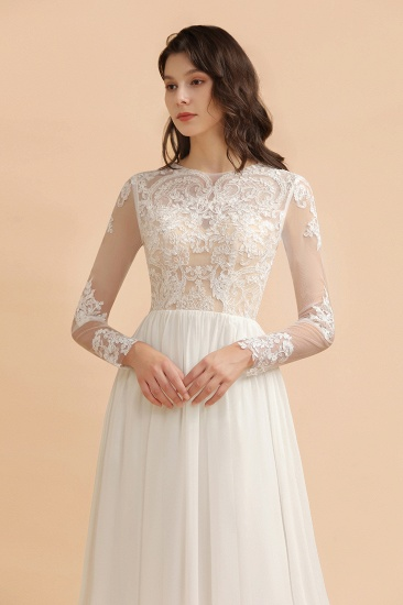 Elegant A-Line Chiffon Lace Wedding Dress Long Sleeves Jewel Ruffles Bridal Gowns On Sale_6