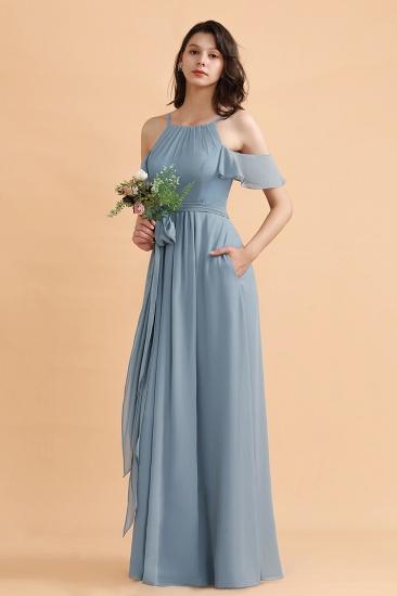 BMbridal Stylish Cold-Shoulder Ruffles Chiffon Bowknot Bridesmaid Dress with Pockets On Sale_4